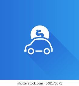 Car piggy bank icon in Metro user interface color style. Saving banking automotive