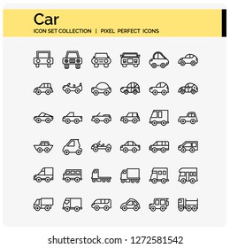 CAR pixel perfect icons set for ui and web design element