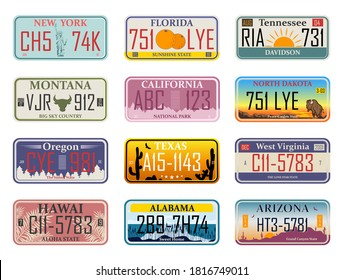 Car plates. Highway automobile license numbers old retro style vector signs collection. Automobile identifier, driving travel theme. Abstract USA states license plates.