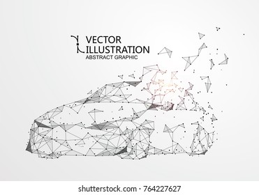 A car with a point line connection, vector illustration.