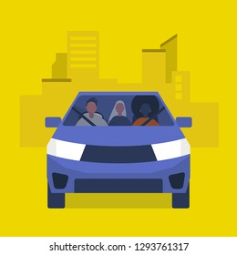 Car pool taxi service. Passengers in a yellow car. Urban lifestyle. Flat editable vector illustration, clip art