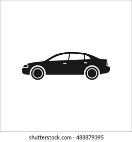 Car profile sign silhouette symbol icon on background
