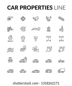 Car properties line icons
