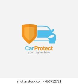 Car Protect Logo Design Template. Vector Illustration