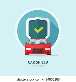 Car protection vector sign, guard shield, collision insurance shop logo, auto tuning service emblem, concept of car security, driver license, flat security system badge, anti theft modern design label
