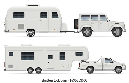 Car pulling RV camping trailer on white background. Side view of fifth wheel camper and truck. Isolated pickup with recreational vehicle vector illustration.
