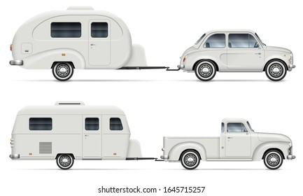 Car pulling RV camping trailer on white background. Side view of pickup truck with recreational vehicle isolated vector illustration