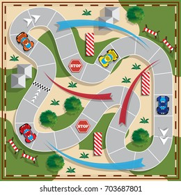 Car race. Board game. View from above. Vector illustration.