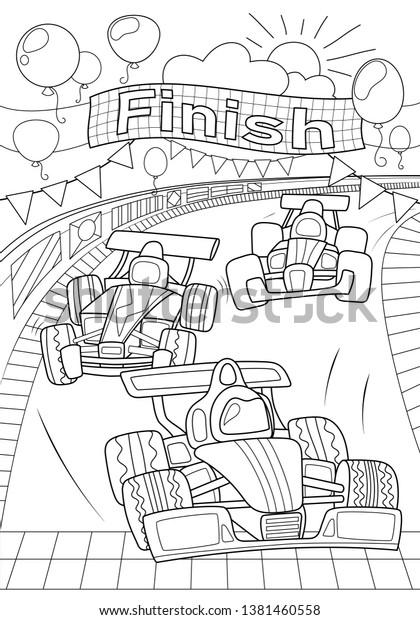 - Car Race Coloring Page Formula 1 Stock Vector (Royalty Free) 1381460558