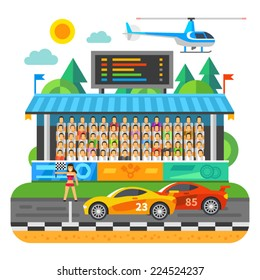 Car Race. Competition at the stadium. Tribunes with the fans. Vector flat illustration