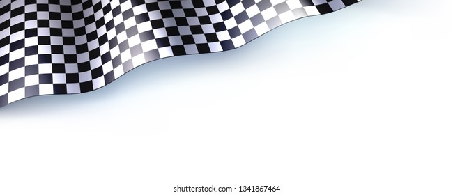 Car race or motorsport rally flag on white. Checkered flag for car or motorsport rally. Three dimensional vector illustration for races, competitions, lotto, bookmakers office, promotion of rates.