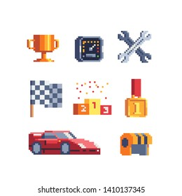 Car race pixel art icons set. Stopwatch, rally and pedestal, helmet and cup, flag, helmet and wrench. Auto racing and rally. Isolated vector illustration. Design for logo, sticker and mobile app.