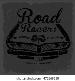 car racer vector typography road illustration