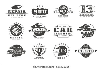 Car races and service badges. Graphic design for t-shirt. Isolated on white background