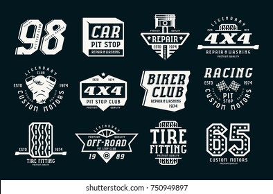Car races and service badges. Graphic design for t-shirt. White print on black background