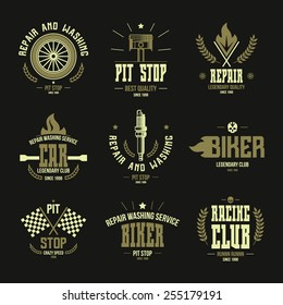 Car races and service badges and logo in retro style. Graphic design for t-shirt. Color print on a black background