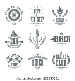 Car races and service badges and logo in retro style. Graphic design for t-shirt. Monochrome print on a black background