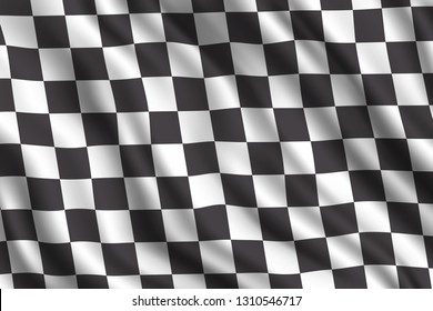 Car racing or auto rally 3d realistic flag. Vector car sport races motocross rally competition finish or start checkered flag background