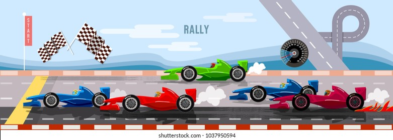 Car racing banner, cars on a start line banner, bolides, formula car speeding, tyre drift on race circuit finish line vector