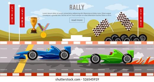 Car racing banner, cars on a start line, bolides, formula car speeding,  tyre drift on race circuit finish line vector