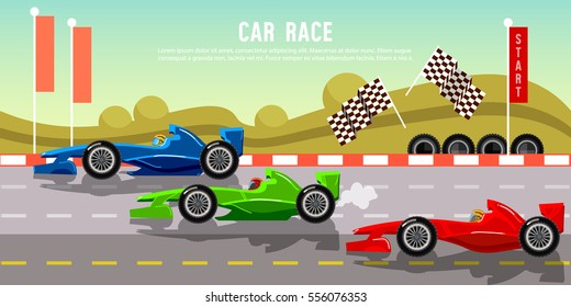 Car racing banner tyre drift on race circuit finish line motor racing cars on a start line formula car speeding