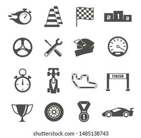 Car racing glyph icons set. Sport automobiles competition silhouette symbols. Trophy and medals. Drivers protective helmet. Stopwatch and finish line vector isolated illustrations collection
