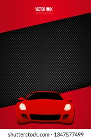 Car racing on on carbon fiber background. Vector poster