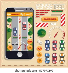 Car Racing. A set of user interface elements. Mobile app. Vector illustration.