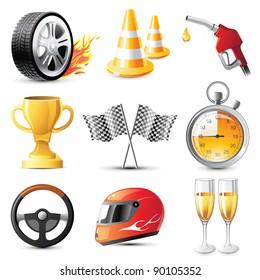 car racing vector icons set