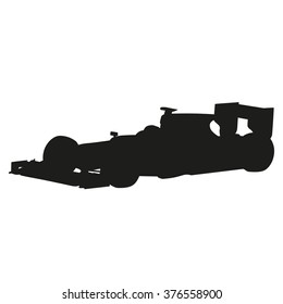 Car racing, vector isolated silhouette