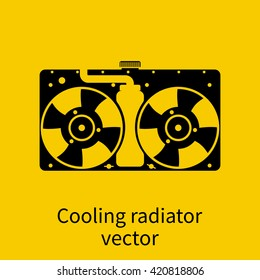 Car radiator icon. Cooling radiator. Cooling system car. Car fan cooling. Vector black icon of car spare parts on background. Sign of charging car air conditioners and radiators repair. Car Servicing.