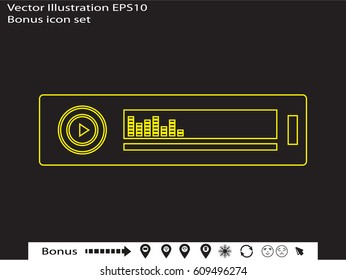 car radio, icon, vector illustration eps10