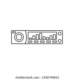 car radio line icon, outline vector sign, linear style pictogram isolated on white. Symbol, logo illustration.
