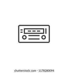 Car radio outline icon. linear style sign for mobile concept and web design. Radio Receiver simple line vector icon. Symbol, logo illustration. Pixel perfect vector graphics