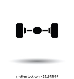 Car rear axle icon. White background with shadow design. Vector illustration.