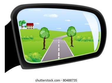 Car rear view mirror is reflected in it expensive, the meadow and the house