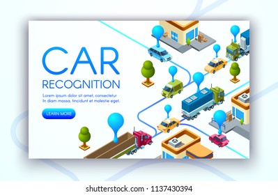 Car recognition technology vector illustration of vehicle registration plates and traffic speed control. Location tracking radars and road rule violation cameras of police monitoring system