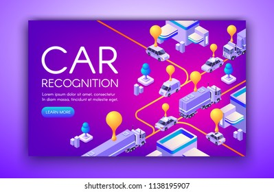 Car recognition vector illustration of vehicle registration plates and speed detection ANPR technology. Location tracking radar and road traffic rule violation cameras on purple ultraviolet background