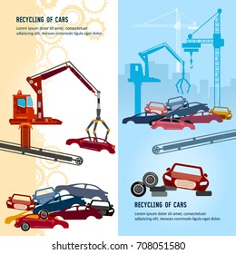 Car recycling banner. Car scrap metal dump vector. Industrial crane claw grabbing old car for recycling metal, utilization of cars. Recycling industrial factory