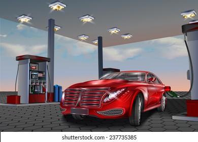 Car refueling on a filling station.Vector illustration.