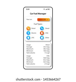 Car refueling organizer smartphone interface vector template. Mobile app page color design layout. Fuel types list screen. Flat UI for application. Petrol usage manager phone display