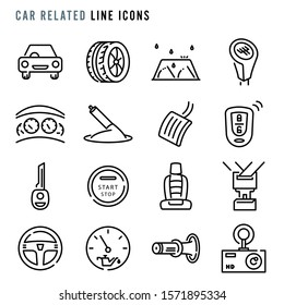 Car related line icons, Pixel perfect car related thin line icons, Set of simple car related sign line icons, Cute cartoon line icons set, Vector illustration
