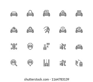 Car related vector icon set in thin line style. Pixel perfect, 48x48 grid