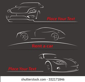 Car Rent Abstract Lines Vector Set. Vector illustration