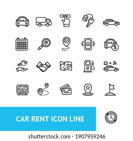 Car Rent Sign Thin Line Black Icon Set Include of Auto, Key and Handshake Agreement. Vector illustration of Icons