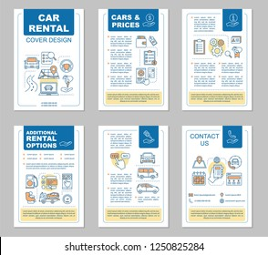 Car rental brochure template layout. Rent a car. Auto leasing options, pricing. Flyer, booklet, leaflet print design with linear illustrations. Vector page layouts for magazines, reports, posters