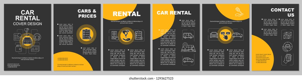 Car rental brochure template layout. Carpooling service. Flyer, booklet, leaflet print design. Taxi ordering. Rent auto. Vector page layouts for magazines, annual reports, advertising posters