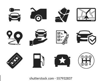 Car rental icons set