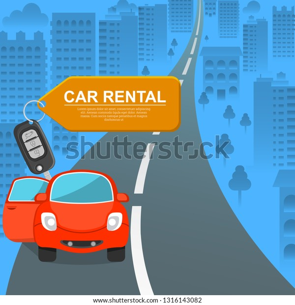Car Rental Lovely Car Against Background Stock Vector Royalty Free 1316143082