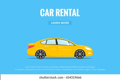 Car rental. Modern automobile in trendy style with typography for advertisement, web projects etc. Banner of car rent concept.